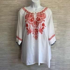 Johnny Was Embroidered Cotton Peasant Top